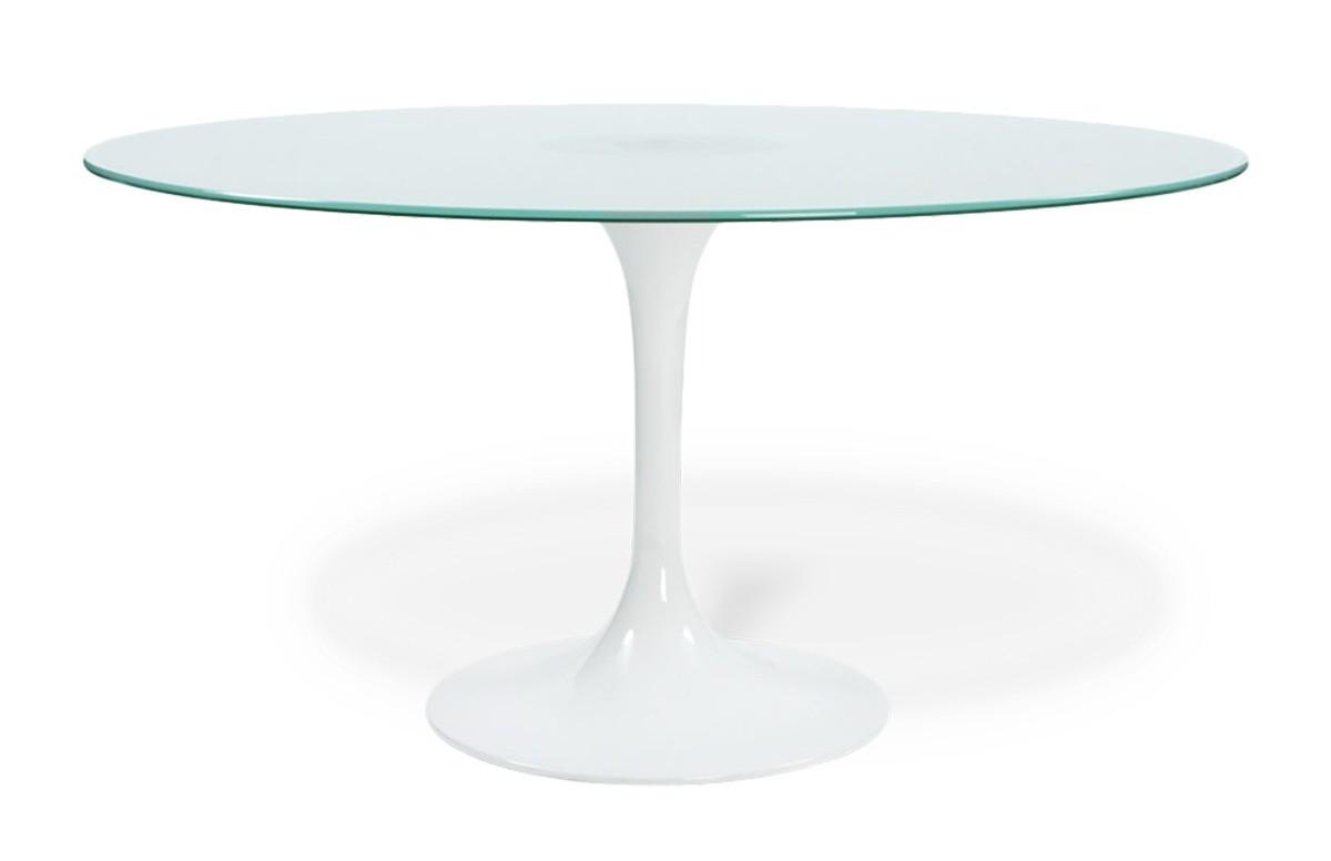 Table à dîner VEGA ronde en verre trempé sablé avec pied central