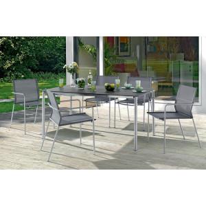 Table Superstone gris foncé et 6 fauteuils - Le Rêve Chez Vous
