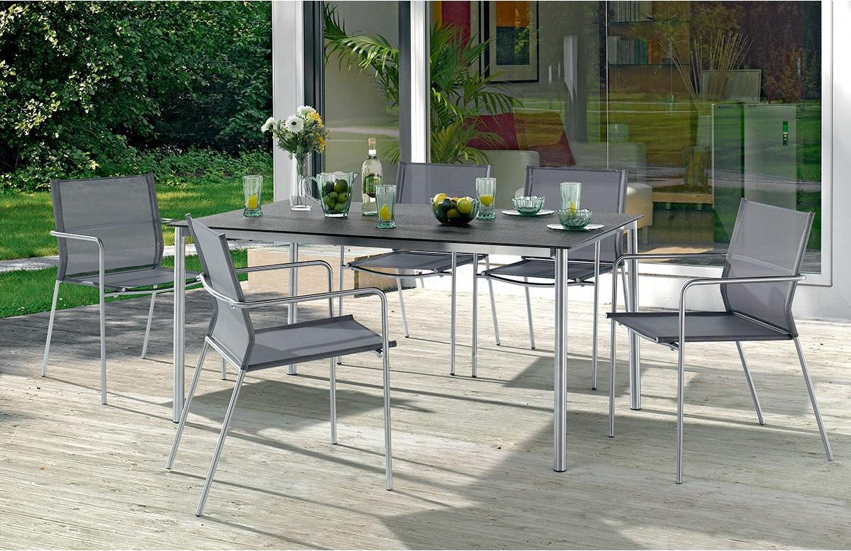 Salon de jardin VIGO avec table Superstone gris foncé et 6 fauteuils