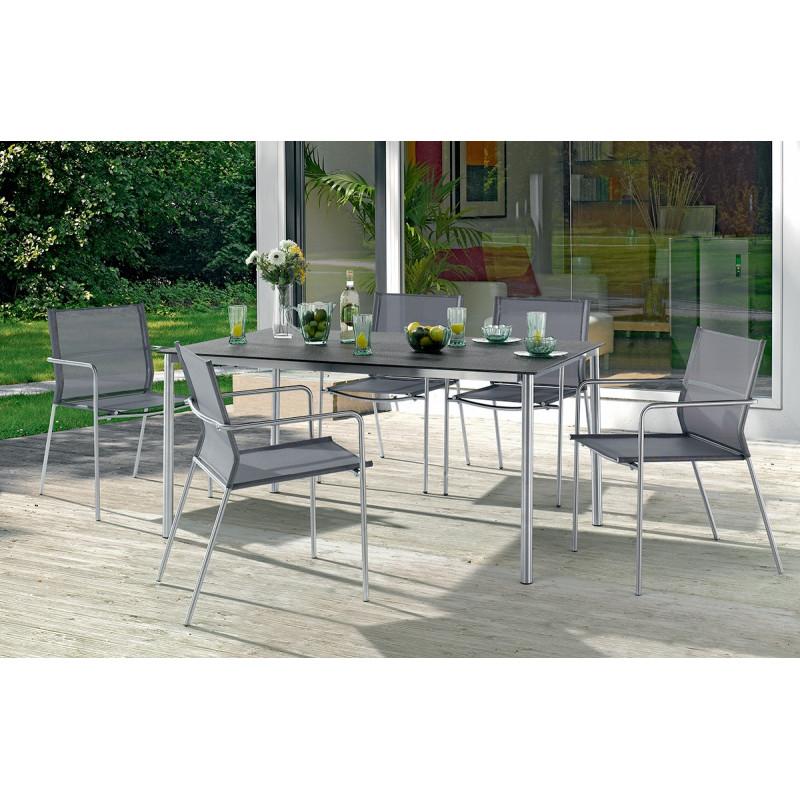 table superstone gris fonc et 6 fauteuils le r ve chez vous. Black Bedroom Furniture Sets. Home Design Ideas