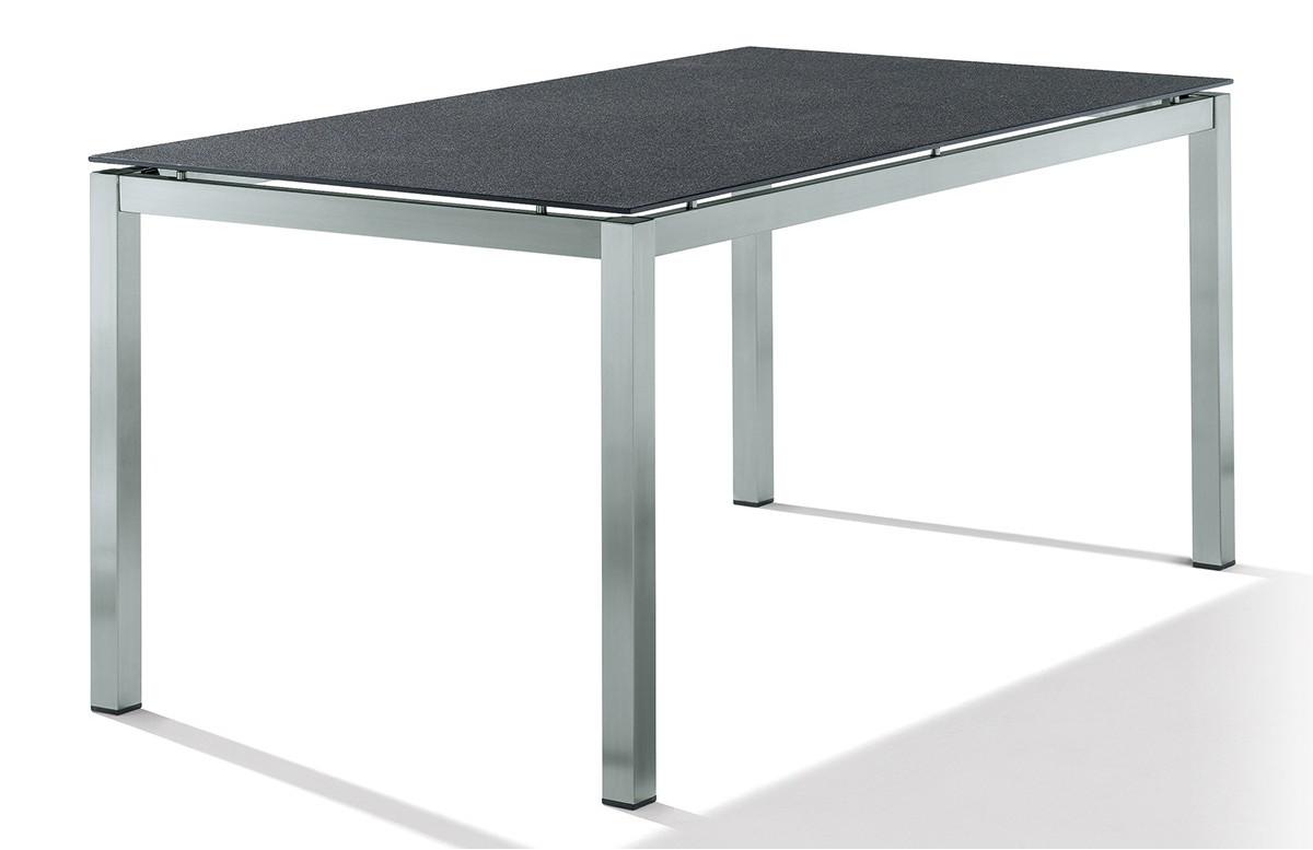 Table Superstone gris foncé 160x90 cm avec pieds carrés
