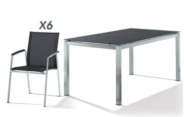 Salon de jardin PORTO avec table superstone et 6 fauteuils