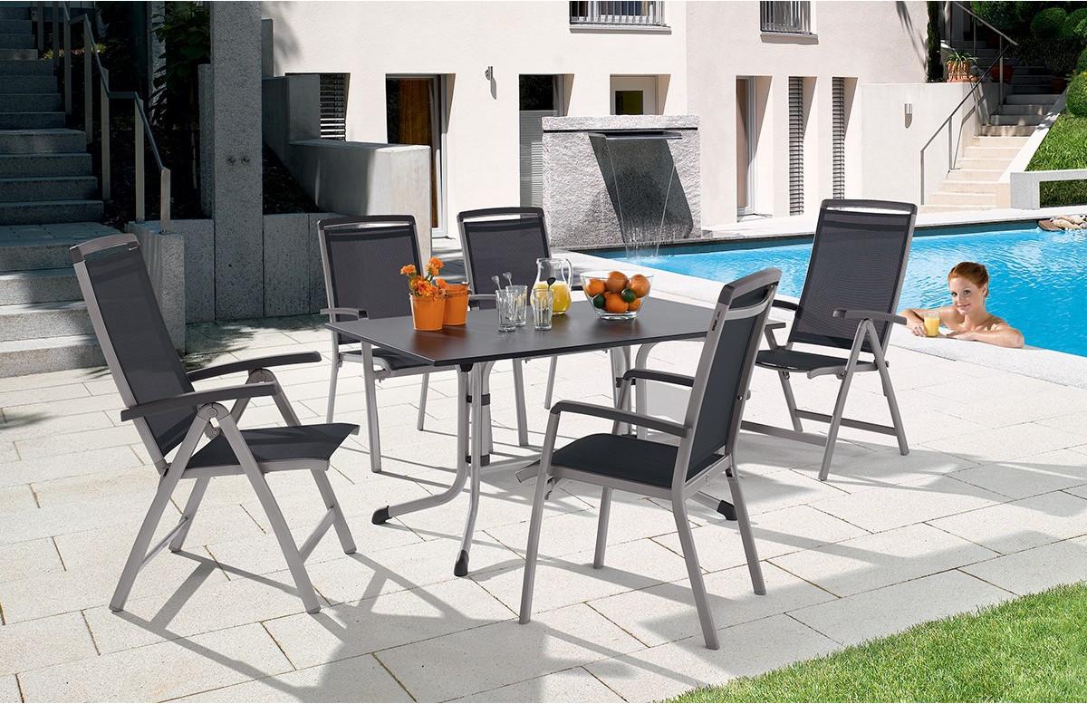 Salon de jardin BAHIA avec table Puroplan anthracite 165X95cm et 6 chaises