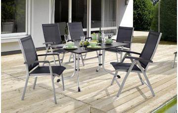 Salon de jardin BODEGA avec table Puroplan anthracite et 6 chaises