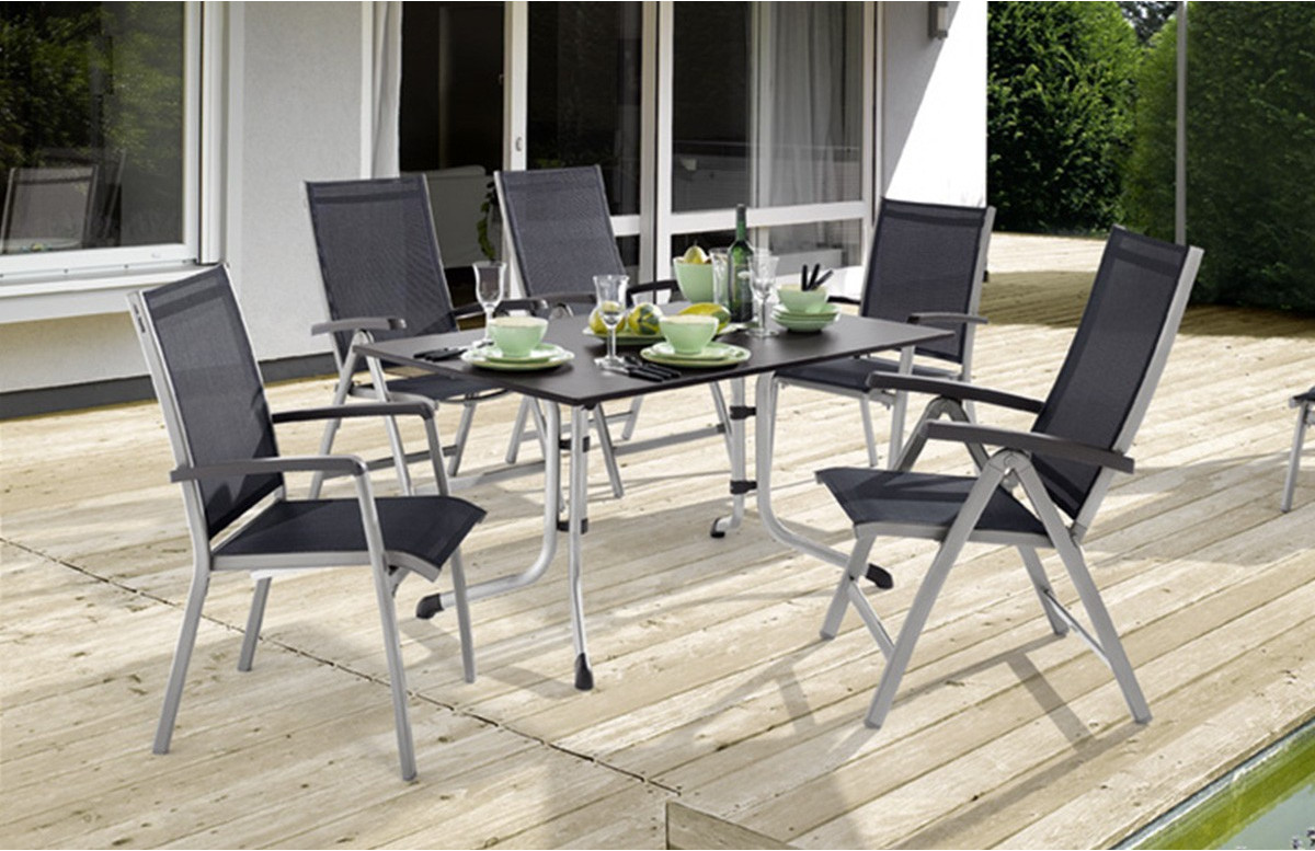 Table Puroplan anthracite et 6 chaises