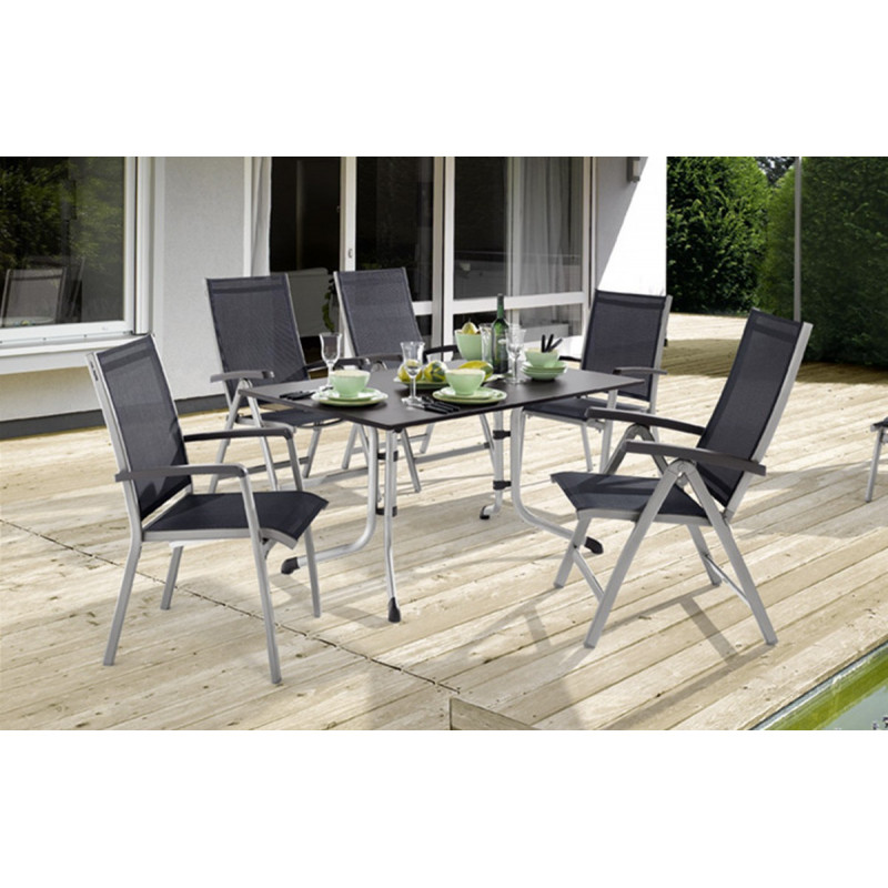Table puroplan anthracite et 6 chaises le r ve chez vous for Table 6 chaises carrefour