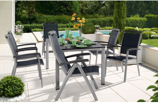 Salon de jardin ROYAL avec table puroplan et 6 fauteuils ROYAL graphite