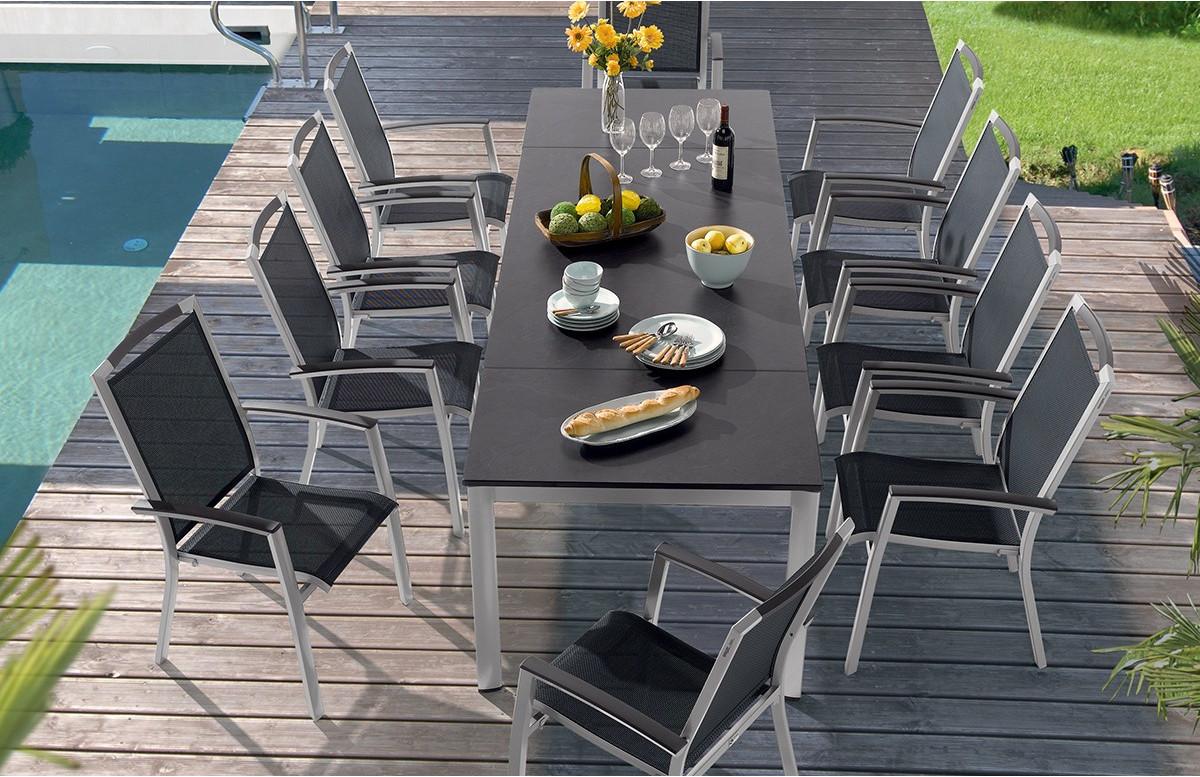 Salon de jardin avec table Puroplan et 6 fauteuils TRENTO graphite