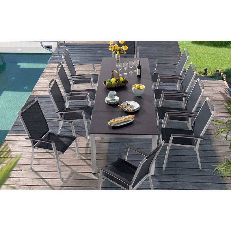 Ensemble table avec 6 fauteuils graphite - Le Rêve Chez Vous