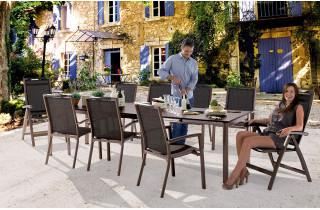 Salon de jardin avec table Puroplan et 6 fauteuils trento mocca
