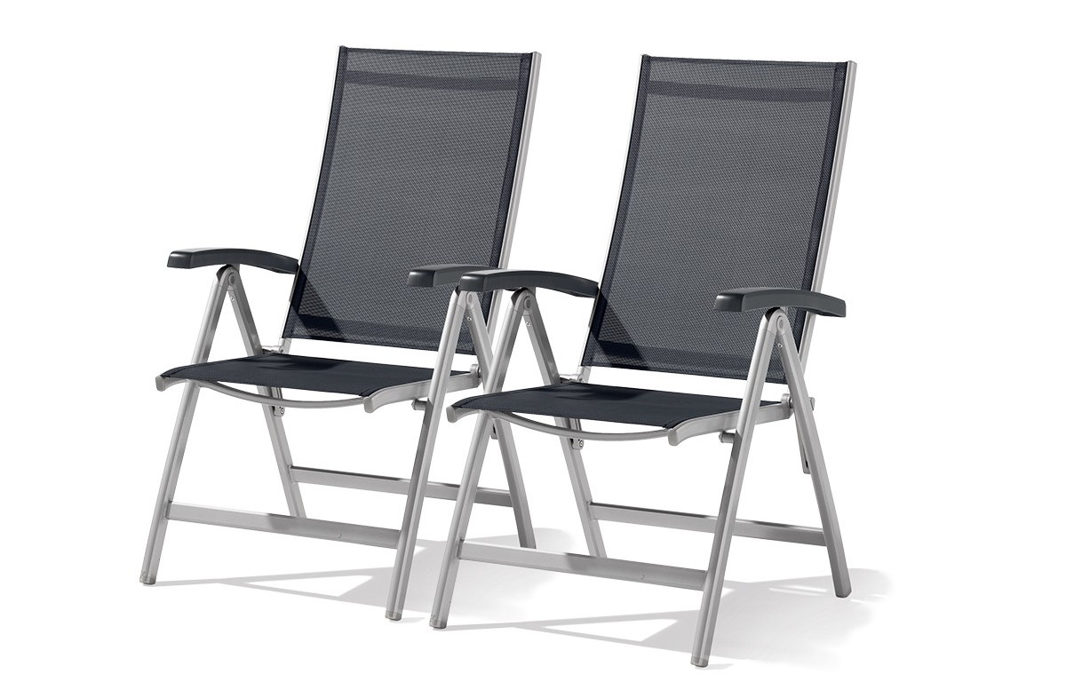 Lot de 2 Fauteuils multiposition pliable Bodega Gris