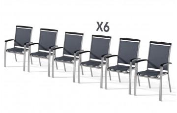 Lot de 6 fauteuils empilables ROYAL graphite et gris