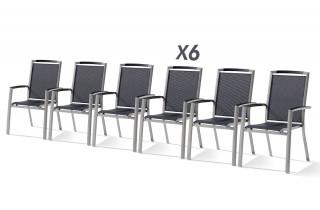 Lot de 6 fauteuils empilables TRENTO graphite et gris