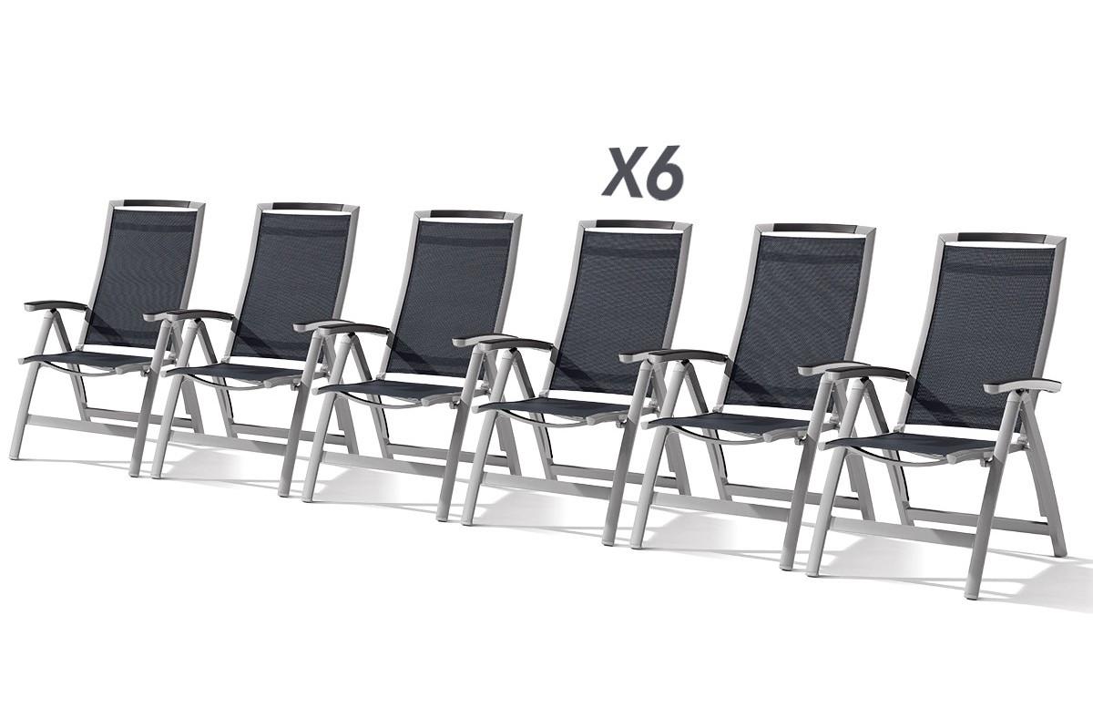 lot de 6 fauteuils multiposition pliantes graphite et gris