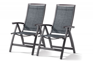 lot de 2 fauteuils multiposition pliable TRENTO gris foncé