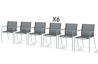 Lot de 6 fauteuils empilables VIGO argenté noir
