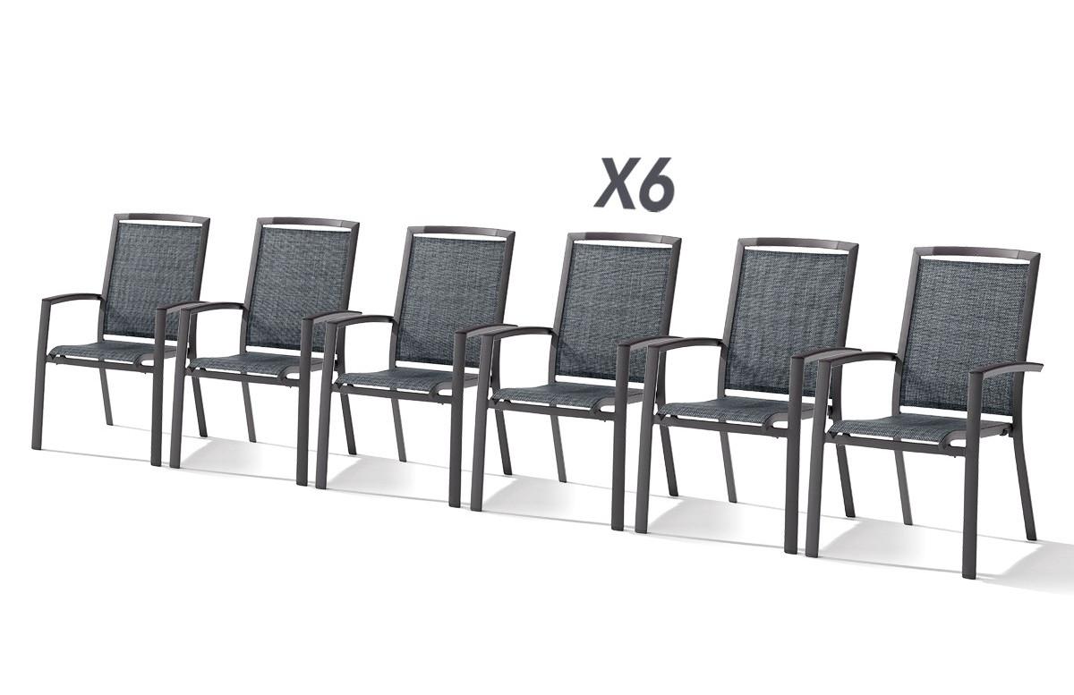 Lot de 6 fauteuils empilables TRENTO gris foncé et gris