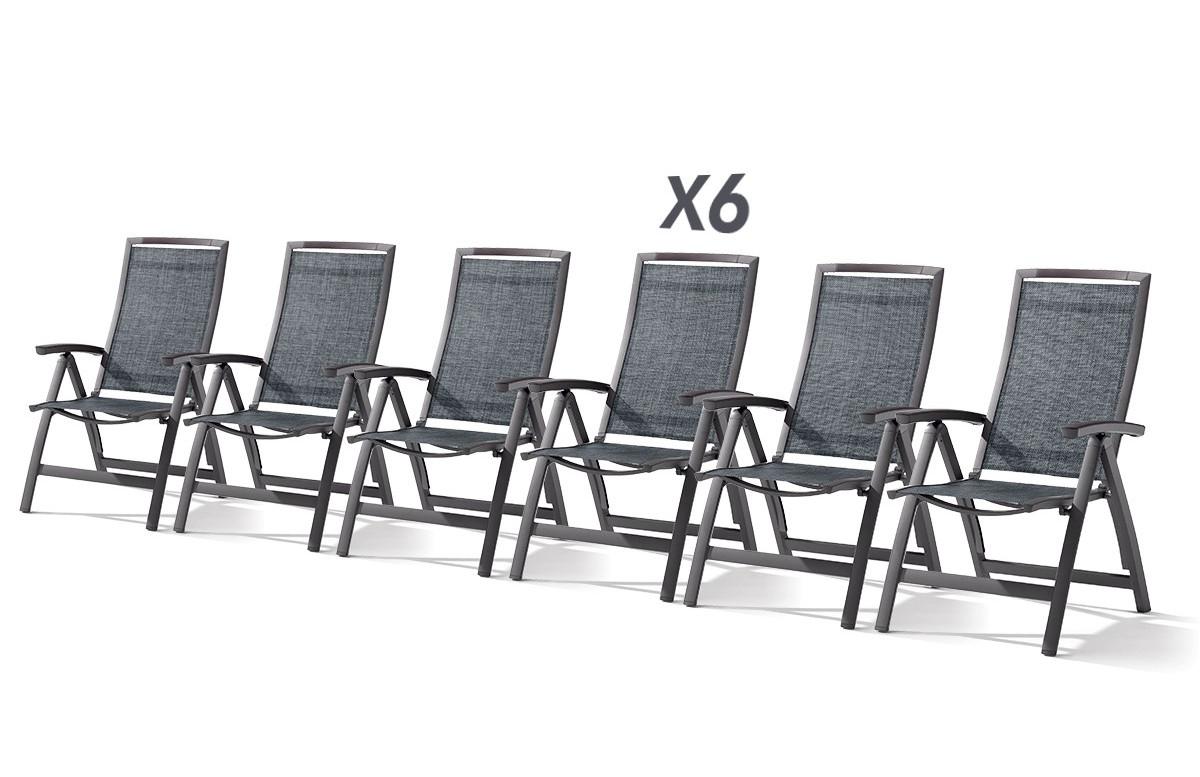 Lot de 6 fauteuils multipositions pliables TRENTO gris foncé
