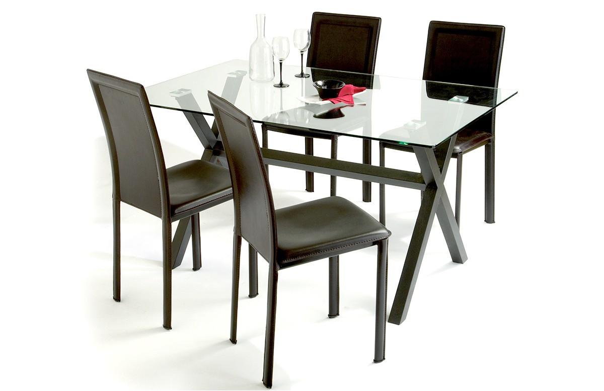 Lot de 4 chaises marron pour salle à manger