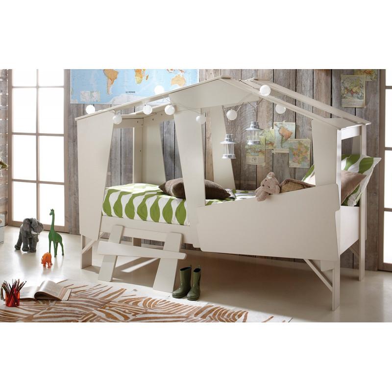 lit cabane 90 x 200 cm beige. Black Bedroom Furniture Sets. Home Design Ideas