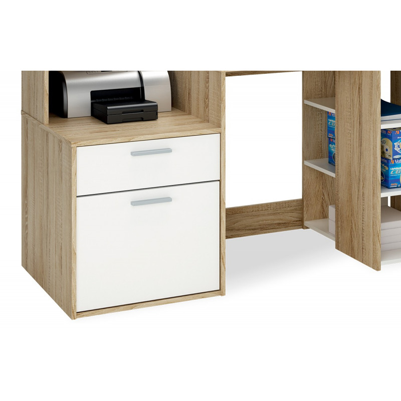 bureau multim dia couleur ch ne brosse et blanc perle le r ve chez vous. Black Bedroom Furniture Sets. Home Design Ideas