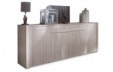 Enfilade 4 portes/1 tiroir DUCHESS chêne shannon/beton clair