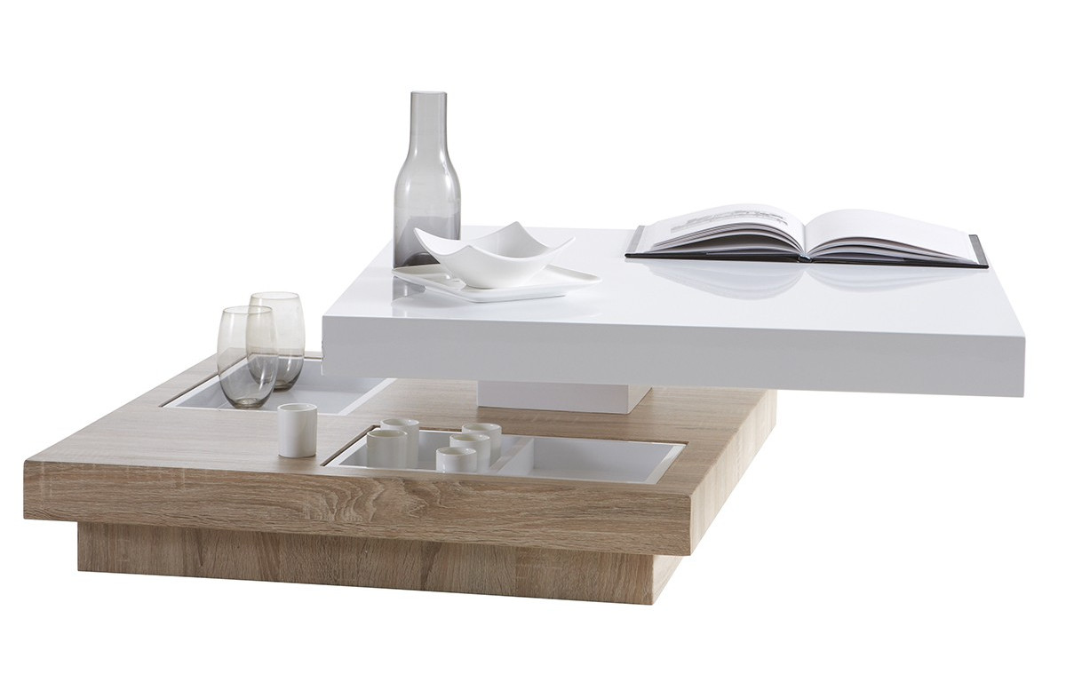 Table basse dessus pivotant 80x80cm TURN rouge oak/white
