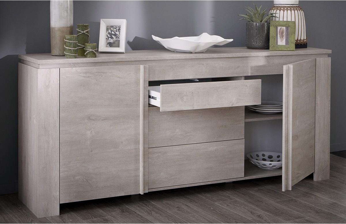 Enfilade 2 portes avec 3 tiroirs segur couleur chene for Enfilade chez but