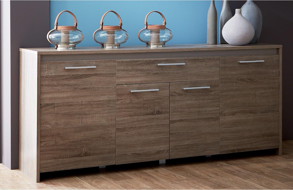 Enfilade 4 portes/1 tiroir STEEN couleur chene foncé/basalte