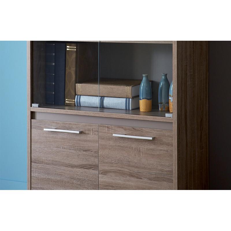 vitrine 2 portes vitr es 2 portes couleur ch ne fonc le r ve chez vous. Black Bedroom Furniture Sets. Home Design Ideas