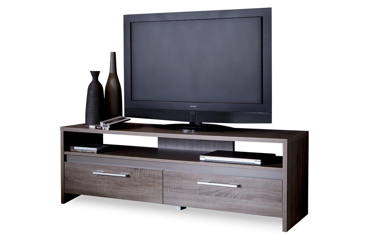 Banc TV 139cm STEEN couleur chene foncé/basalte