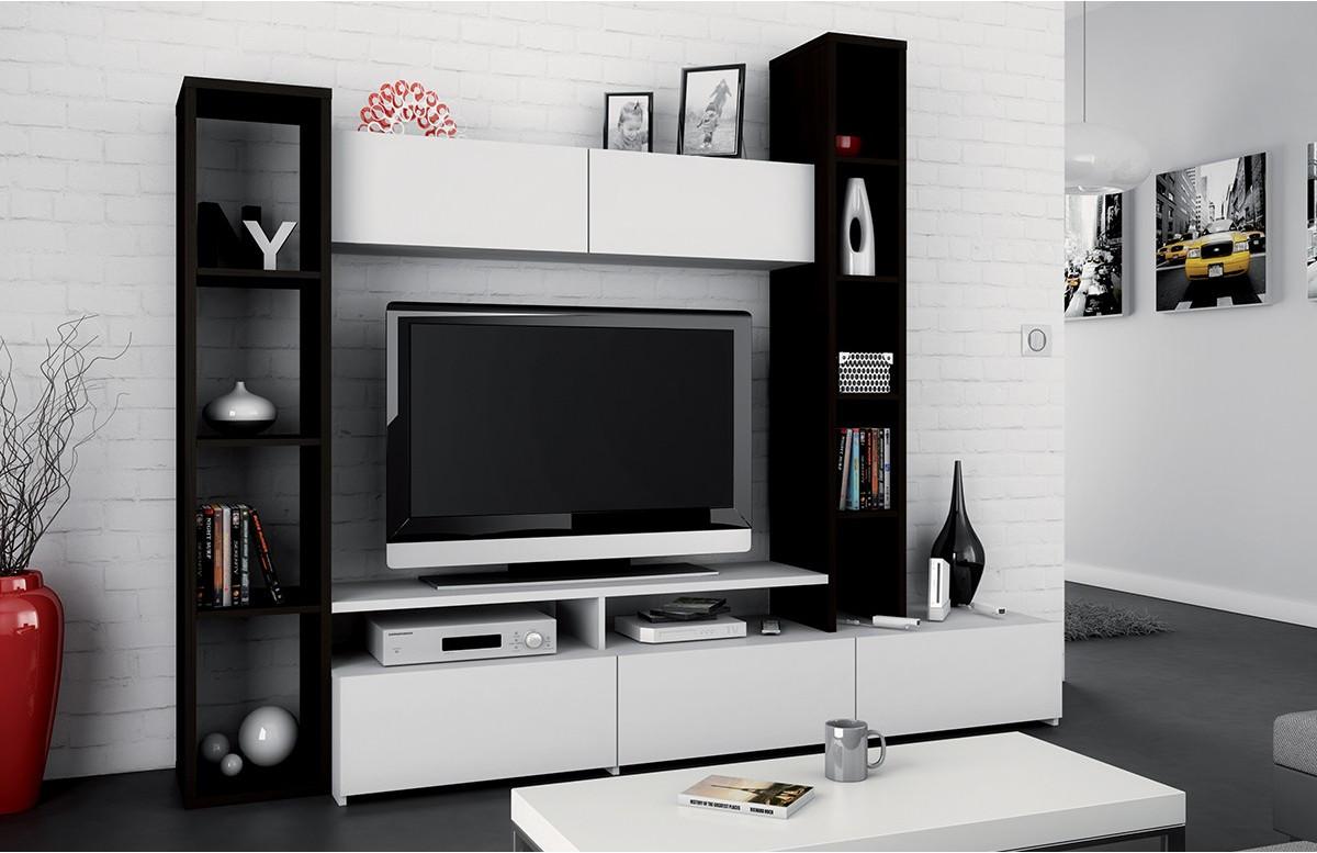 Paroi design télé ébène / blanc perle