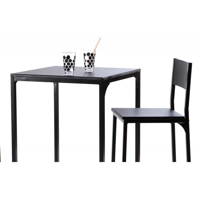 Ensemble d 39 une table et 2 chaises noires le r ve chez vous for Ensemble table et chaise noir et blanc