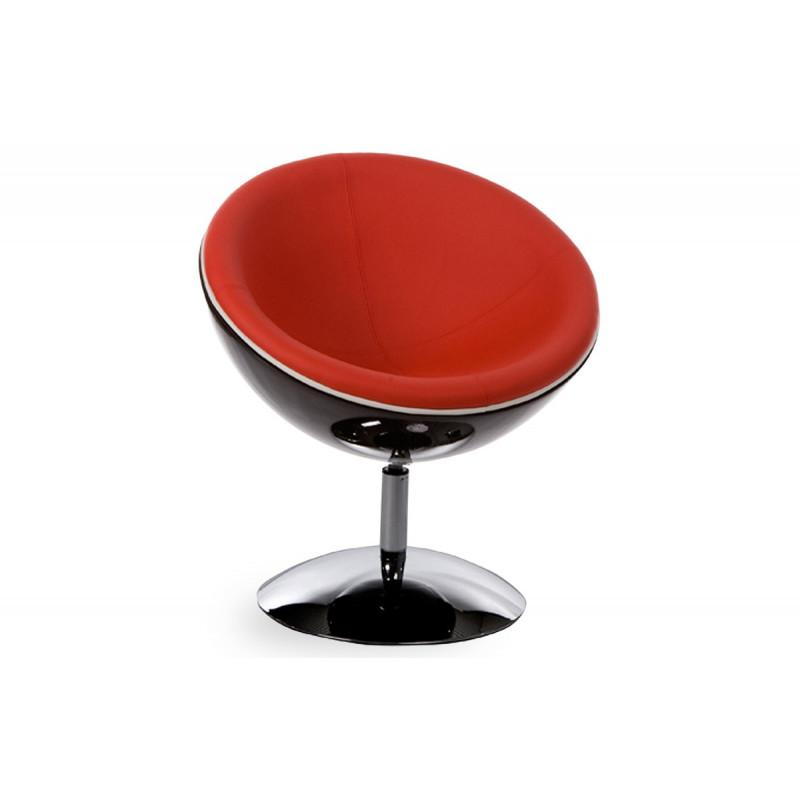 Fauteuil design boule noir rouge le r ve chez vous - Fauteuil design boule ...