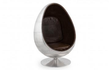 Fauteuil oeuf egg PILOT gris et brun en similicuir