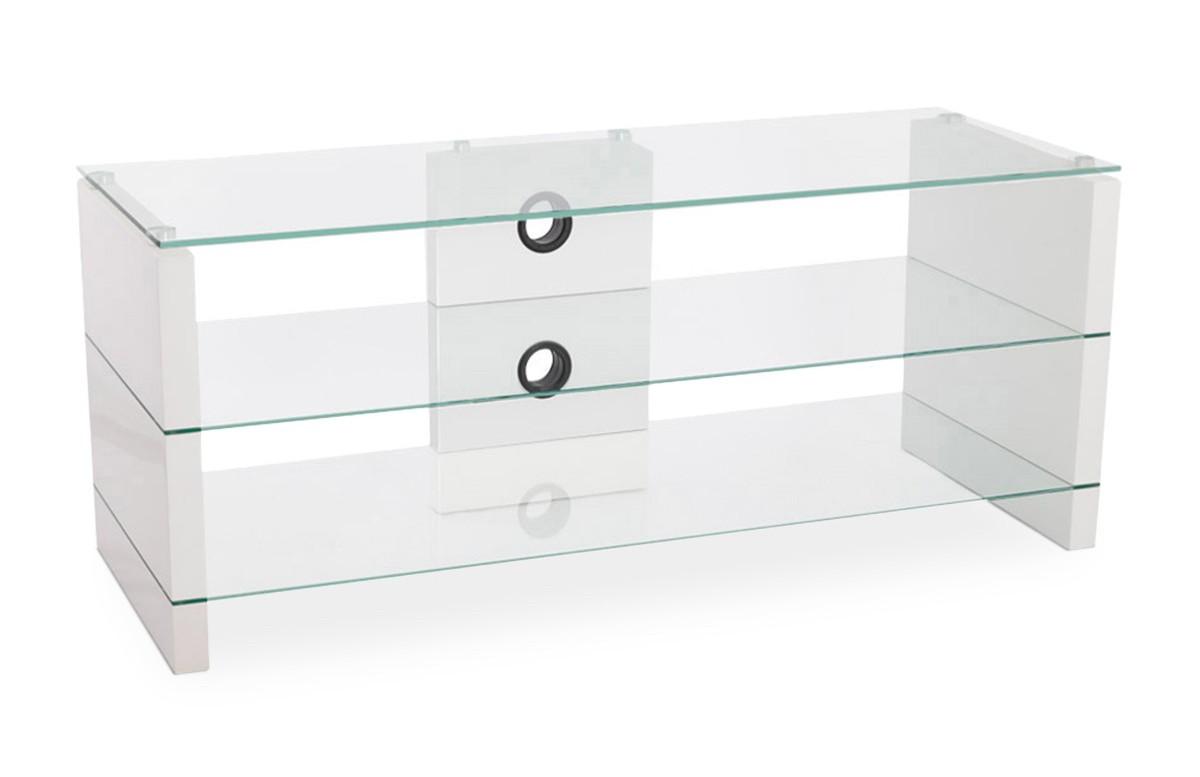 Meuble TV TEVE structure en bois blanc brillant et plateaux en verre