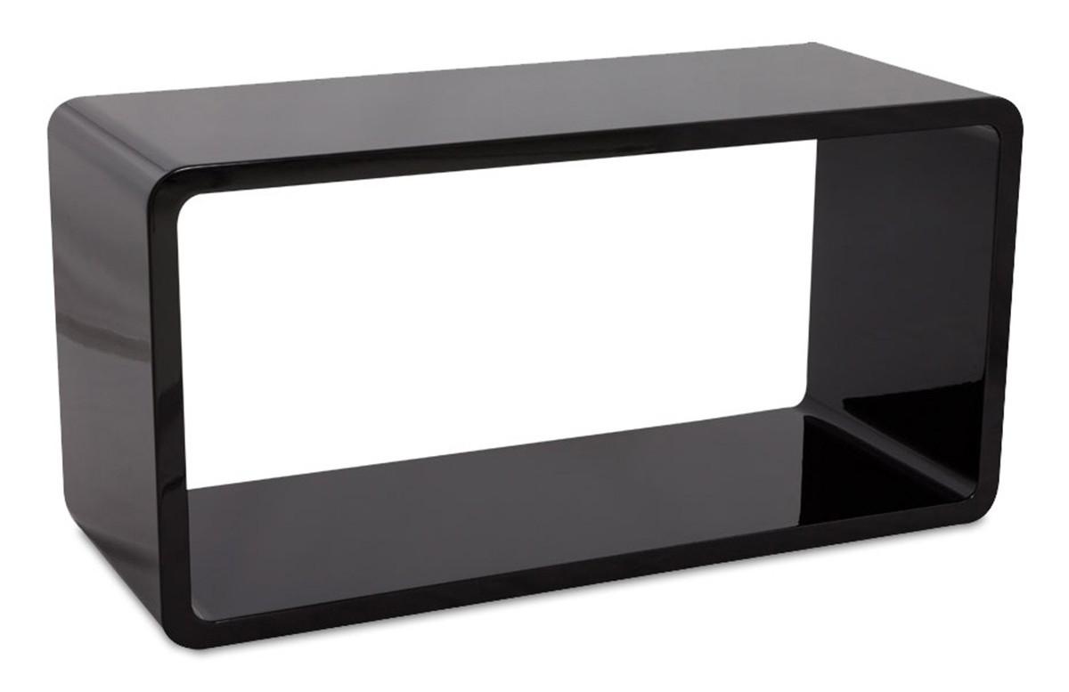 cube de rangement UNO en bois laqué noir brillant