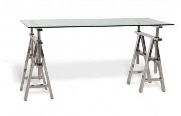Bureau rectangulaire en verre transparent TABLY sur pieds en inox