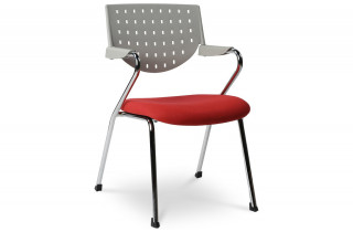 Chaise de bureau design BUSINESS gris/rouge