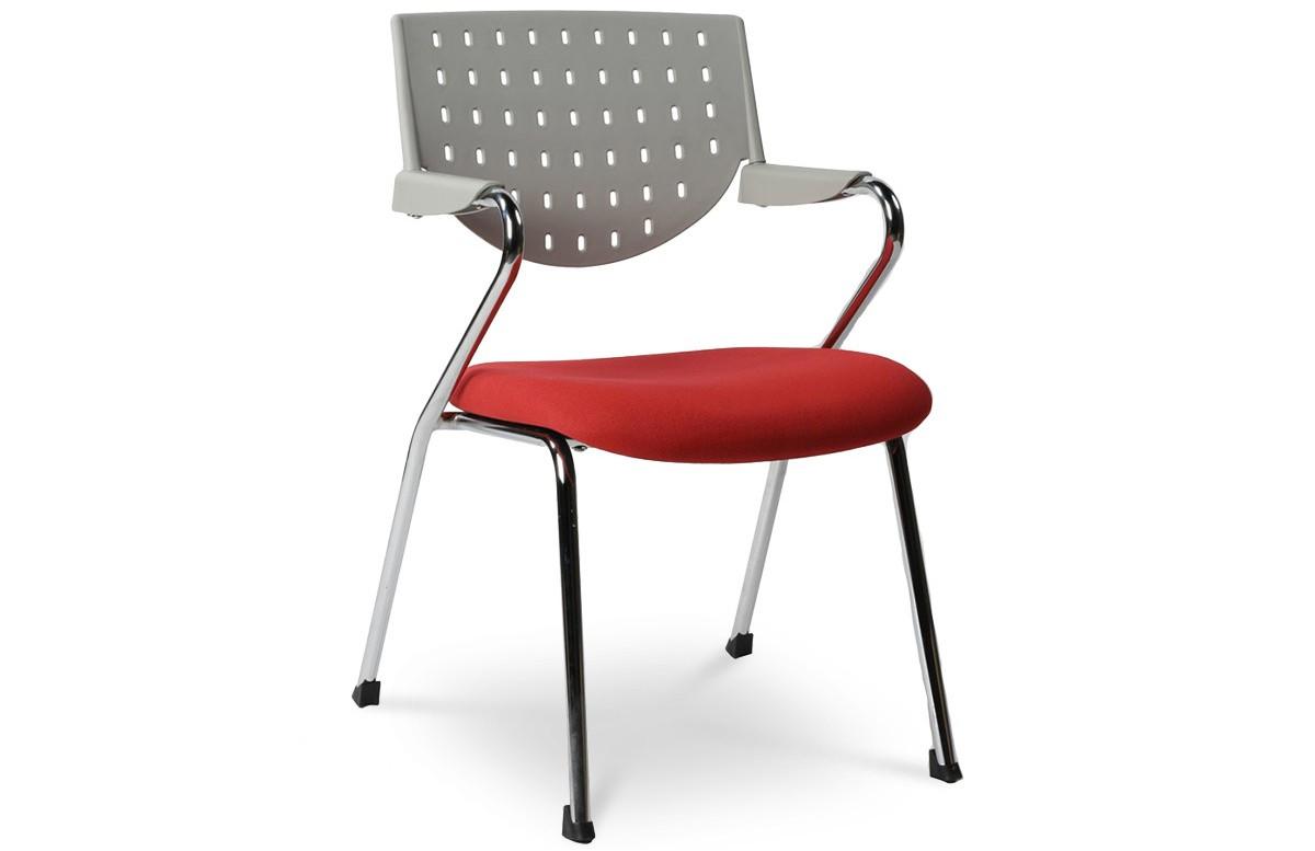 Chaise de bureau design BUSINESS gris/rouge
