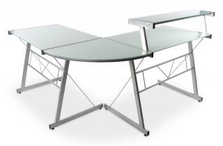 Bureau d'angle design DANIEL verre blanc