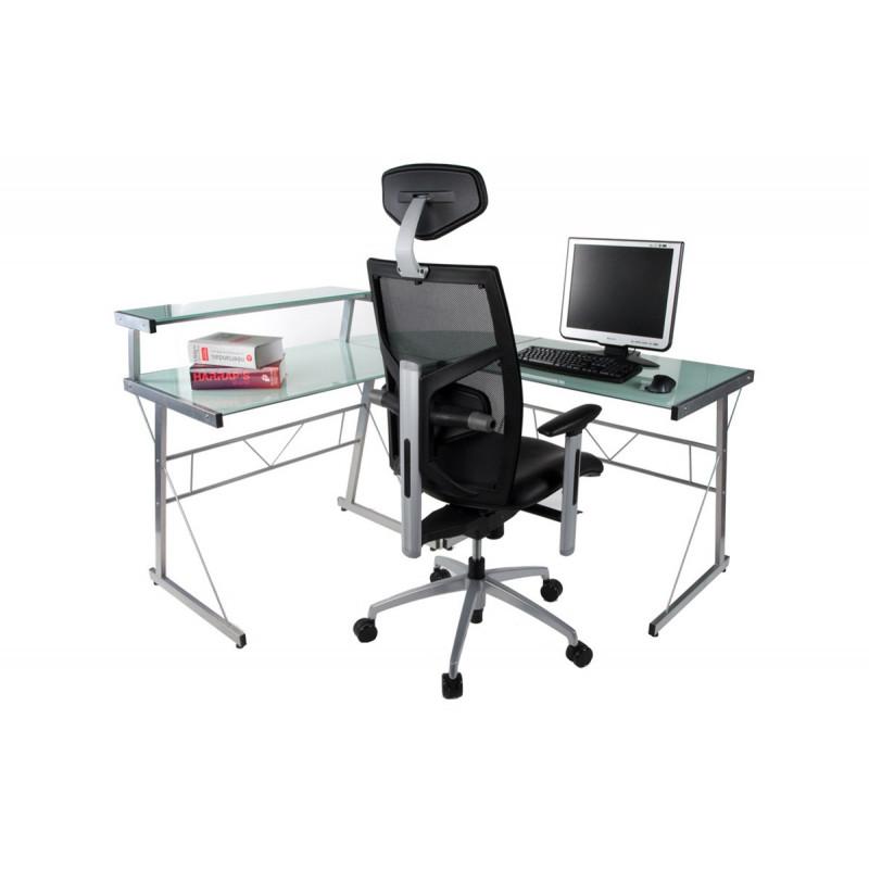 bureau d 39 angle design verre blanc le r ve chez vous. Black Bedroom Furniture Sets. Home Design Ideas