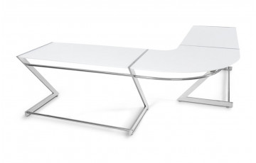 Bureau design d'angle transparent ZED blanc