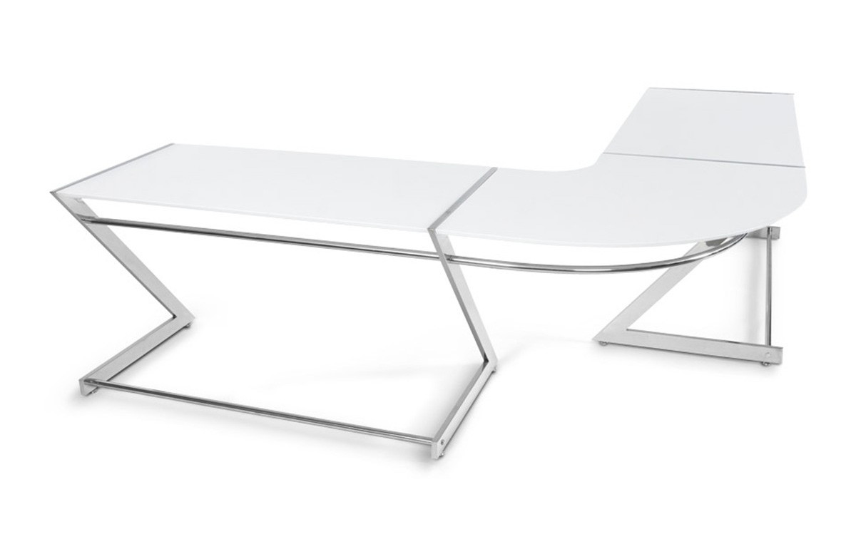 bureau design d 39 angle transparent blanc le r ve chez vous. Black Bedroom Furniture Sets. Home Design Ideas