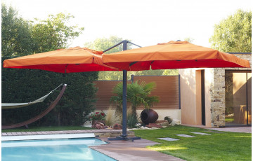 parasol en aluminium 2 toiles de 3X3m coloris orange