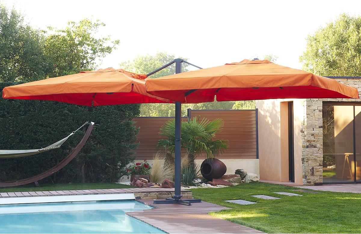 parasol en aluminium 2 toiles de 3X3m coloris orange