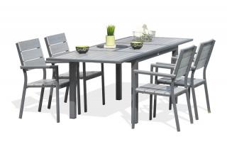 Salon de jardin - Table rallonge papillon + 4 chaises acier et composite
