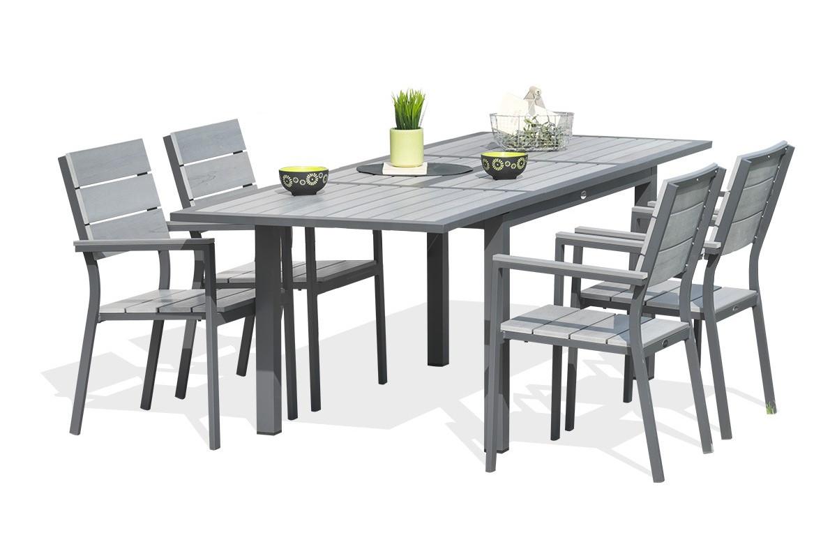 Salon de jardin - Table et 4 chaises acier et composite