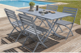Table pliante en aluminium coloris gris galet + 4 chaises assorties