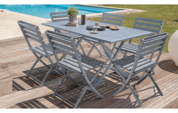 Table pliante en aluminium coloris gris galet et 6 chaises assorties